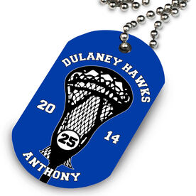 Lacrosse Printed Dog Tag Necklace Custom Team Stick Head