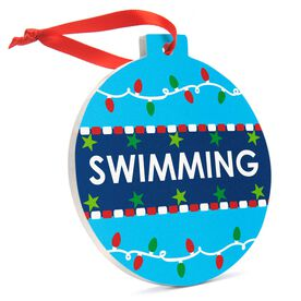 Swimming Round Ceramic Ornament - Swim With Christmas Lights