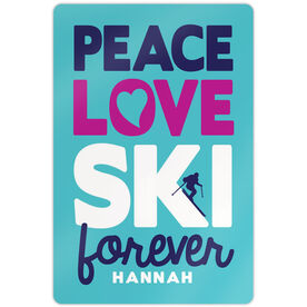 "Skiing 18"" X 12"" Aluminum Room Sign Peace Love Ski Forever"