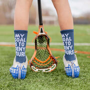 Guys Lacrosse Woven Mid-Calf Socks - My Goal is to Deny Yours