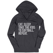 Softball Lightweight Performance Hoodie - Eat Sleep Take The Kids To Softball