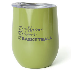 Basketball Stainless Steel Wine Tumbler - Caffeine, Chaos and Basketball