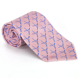 Hockey Sticks Silk Tie (Pink)