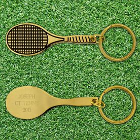 Engraved Tennis Racket Brass Keychain