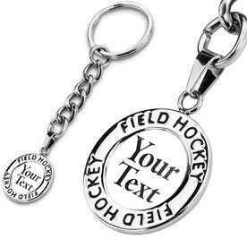 Field Hockey Circle Keychain Your Text