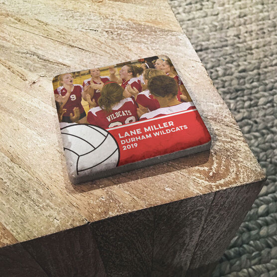 Volleyball Stone Coaster - Team Photo with Ball