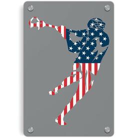 Guys Lacrosse Metal Wall Art Panel - American Flag Silhouette