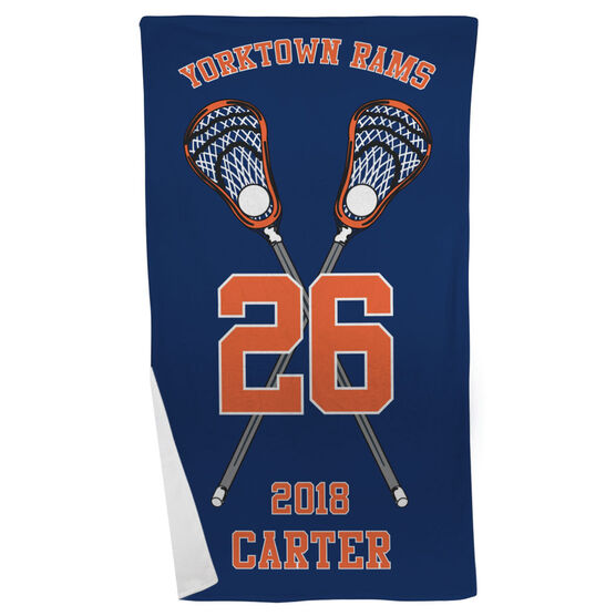 Guys Lacrosse Beach Towel Personalized Crossed Sticks Team