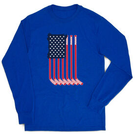 Hockey Tshirt Long Sleeve - American Flag (Destressed)