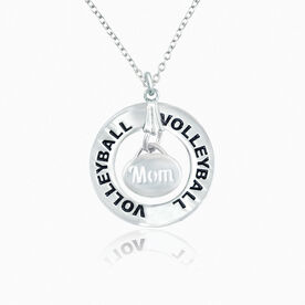 Volleyball Mom Message Ring Necklace