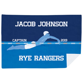 Swimming Premium Blanket - Personalized Swimming Guy Captain