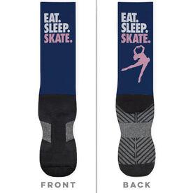 Figure Skating Printed Mid-Calf Socks - Eat Sleep Skate