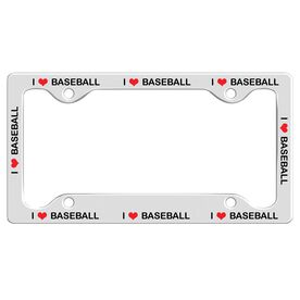 I Love Baseball License Plate Holder