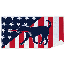 Hockey Premium Beach Towel - Patriotic Hockey Dog