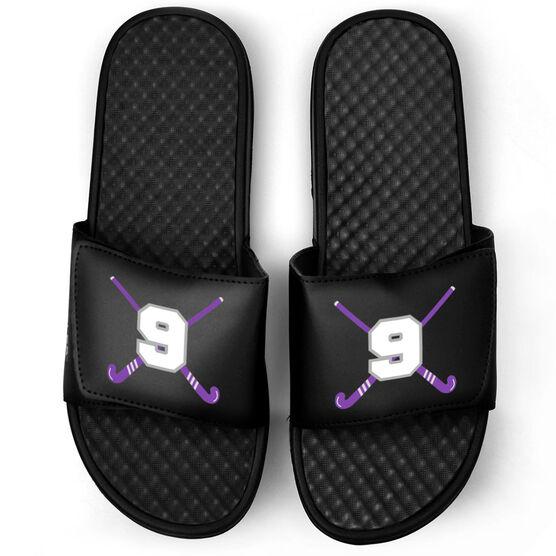 Field Hockey Black Slide Sandals - Crossed Field Hockey Sticks with Numbers