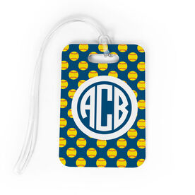 Softball Bag/Luggage Tag - Personalized Softball Pattern Monogram