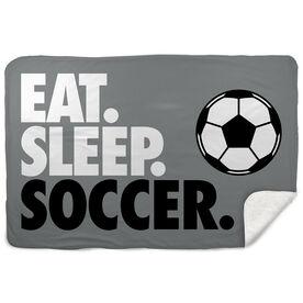 Soccer Sherpa Fleece Blanket - Eat. Sleep. Soccer. Horizontal