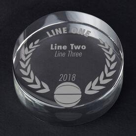 Basketball Personalized Engraved Crystal Gift - Custom Laurel Wreath