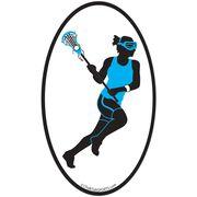 Lacrosse Girl Oval Car Magnet (Blue/Black)