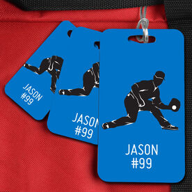 Baseball Bag/Luggage Tag Personalized fielder Baseball Guy Name and Number