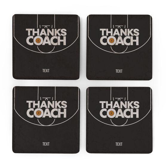 Basketball Stone Coasters Set of Four - Coach (Autograph)