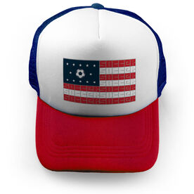 Soccer Trucker Hat - American Flag Words