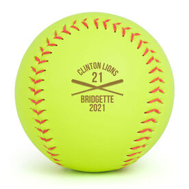 Personalized Engraved Softball - Team Name With Crossed Bats