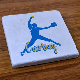 Softball Stone Coaster Personalized Softball Pitcher