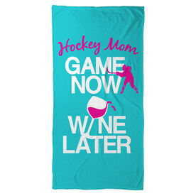 Hockey Beach Towel Game Now Wine Later with Player