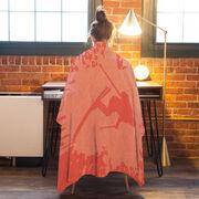Skiing Premium Blanket - Silhouette With Splatter Background