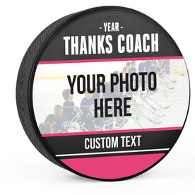 Personalized Hockey Puck - Thanks Coach with Photo (Wide)