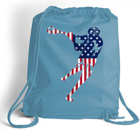 Guys Lacrosse Sport Pack Cinch Sack American Flag Silhouette