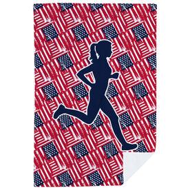 Running Premium Blanket - USA Runner Girl