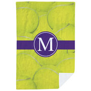 Tennis Premium Blanket - Personalized Ball Background with Monogram