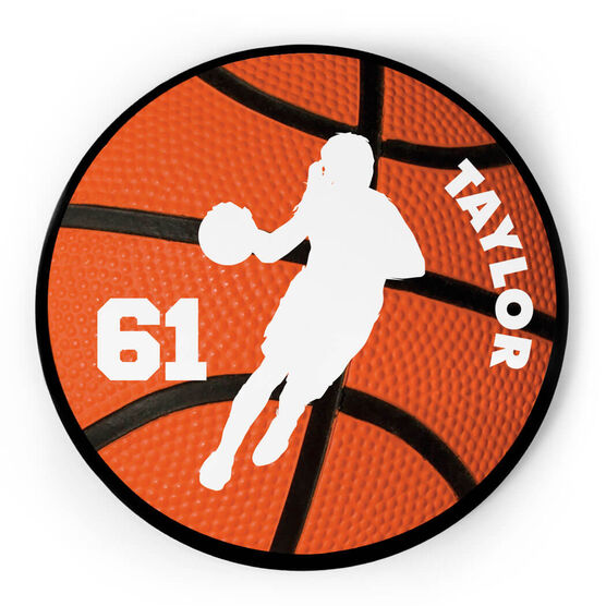 Basketball Circle Plaque - B-ball Girl With Name and Number