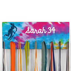 Field Hockey Hooked on Medals Hanger - Personalized Player With Tie-Dye