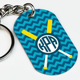 Softball Printed Dog Tag Keychain Personalized Monogram with Crossed Bats