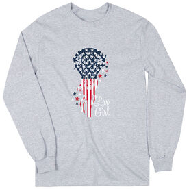 Girls Lacrosse Long Sleeve T-Shirt - Patriotic Lax Girl