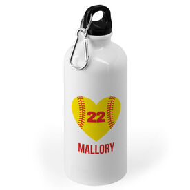 Softball 20 oz. Stainless Steel Water Bottle - Personalized Heart