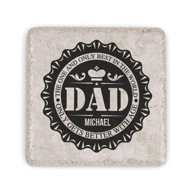 Personalized Stone Coaster - Dad Bottle Cap