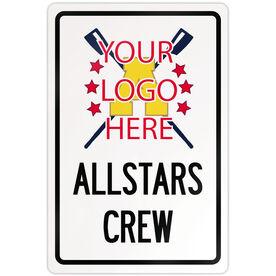 """Crew 18"""" X 12"""" Aluminum Room Sign Crew Custom Logo With Team Name"""