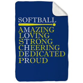 Softball Sherpa Fleece Blanket - Mother Words