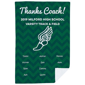 Track & Field Premium Blanket - Personalized Thanks Coach Chevron