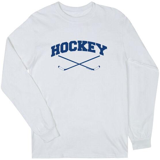 Hockey Tshirt Long Sleeve Hockey Crossed Sticks Logo