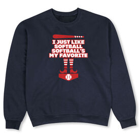 Softball Crew Neck Sweatshirt - Softball's My Favorite