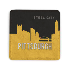 Personalized Stone Coaster - Pittsburgh Skyline