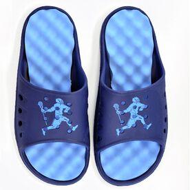 Post-Game Slides Lacrosse Sandals - Navy/Carolina Blue