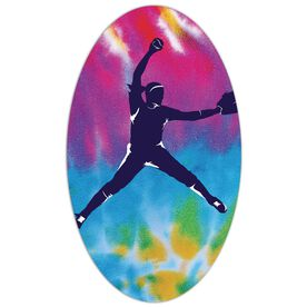 Softball Oval Car Magnet Tie Dye Pitcher