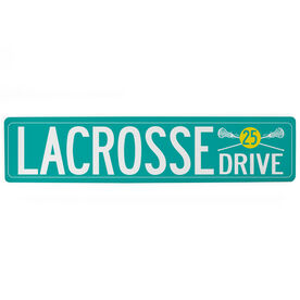 "Girls Lacrosse Aluminum Room Sign - Lacrosse Drive With Number (4""x18"")"