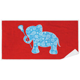 Girls Lacrosse Premium Beach Towel - Lax Elephant